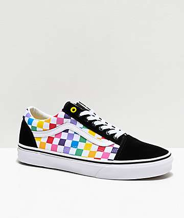 3cd5b4805e081 Vans Old Skool Black, White & Rainbow Checkerboard Skate Shoes