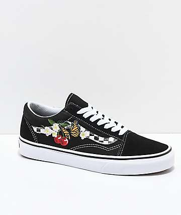 02e355cf61 Vans Old Skool Black   White Checkered Floral Skate Shoes