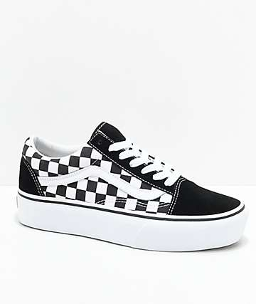 09832f4d672047 Vans Old Skool Black   White Checkered Platform Shoes