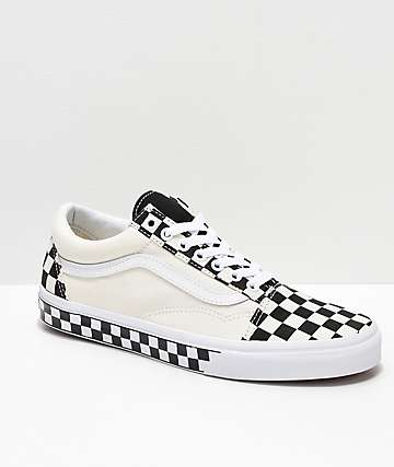 Vans Old Skool Black & White Checkered Sides Skate Shoes