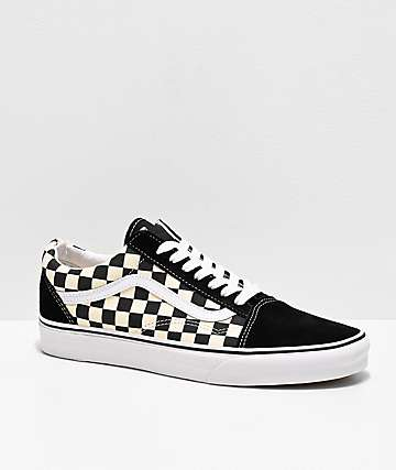 dd57673cadce65 Vans Old Skool Black   White Checkered Skate Shoes