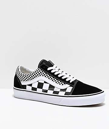 1b6be186c2ca Vans Old Skool Black   White Mixed Checkerboard Skate Shoes