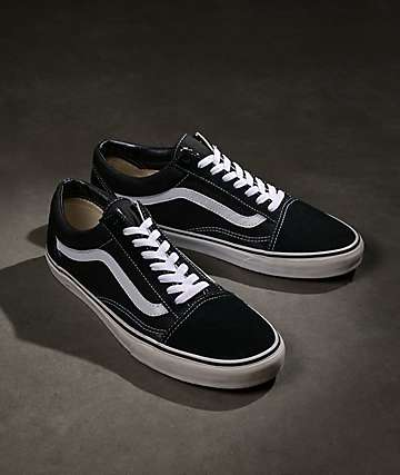 55ddcfe637bff1 Vans Old Skool Black   White Skate Shoes
