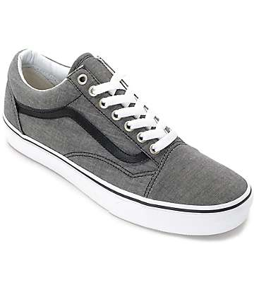 Vans Old Skool Black Chambray Skate Shoes