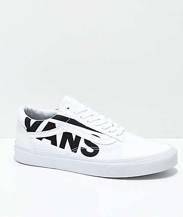 Vans Old Skool Black Logo White Skate Shoes