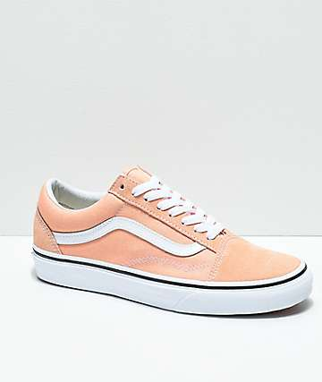 Vans Old Skool Bleached Apricot & White Skate Shoes