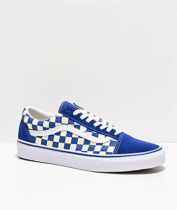 b1f5ca1b19ec26 Vans Old Skool Blue   White Checkered Skate Shoes