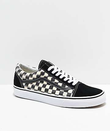 6a9c4e2b0248b1 Vans Old Skool Blur Black   White Checkerboard Skate Shoes