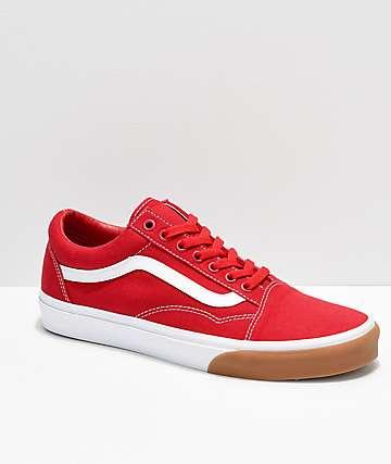 4b3f1d565 Vans Old Skool Bumper zapatos de skate en rojo blanco y goma