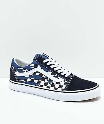 3f9406b16c934 Vans Old Skool Checkerboard Flame Navy & White Skate Shoes