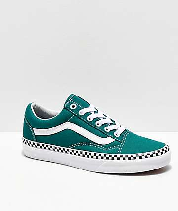 Vans Old Skool Checkerboard Foxing Quetzal Green Skate Shoes
