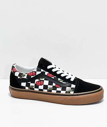 checkerboard slip on vans with cherries