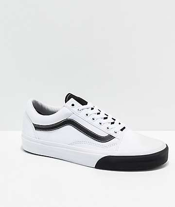 Vans Old Skool Color Block Black & White Skate Shoes