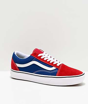Vans Old Skool ComfyCush Red Chili & Blue Skate Shoes