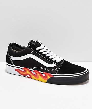 fb2b9baaa73142 Vans Old Skool Flame Black   White Bumper Skate Shoes