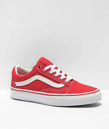 207eadd84e3b62 Vans Old Skool Formula Red   White Canvas Skate Shoes