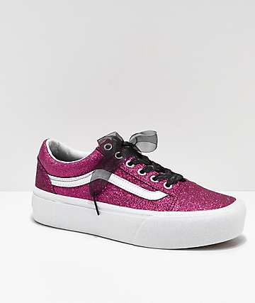 Vans Old Skool Glitter Pink Platform Skate Shoes