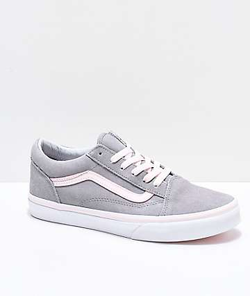 9b036f45266e Vans Old Skool Grey   Light Pink Skate Shoes