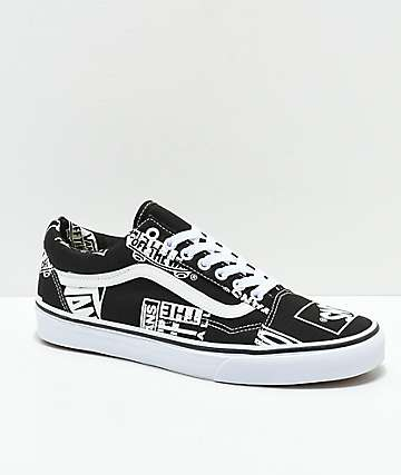0553b917bed Vans Old Skool Logo Mix Black   White Shoes
