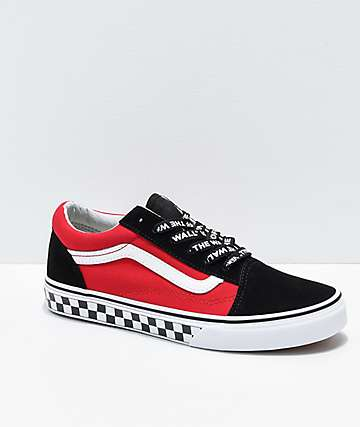67d573de8ceb92 Vans Old Skool Logo Pop Red Skate Shoes