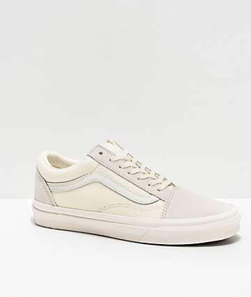 Vans Old Skool Marshmallow White Woven Checkerboard Skate Shoes