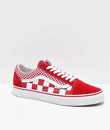 Vans Old Skool Mix Checker Chili Pepper & White Skate Shoe