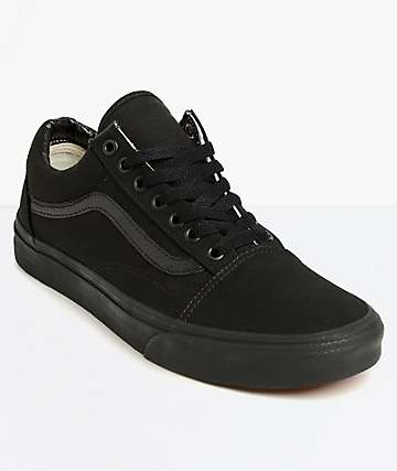 a1f9b52971d175 Vans Old Skool Mono Black Skate Shoes
