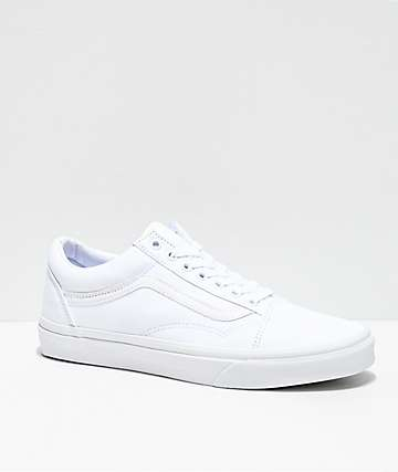 e770e9687ed Vans Old Skool Mono White Skate Shoes