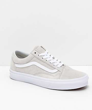 Vans Old-Skool Moonbeam & White Pig Suede Skate Shoes
