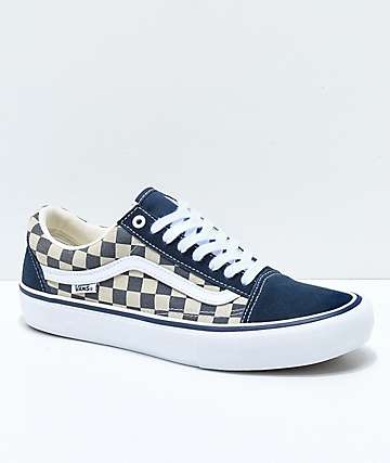 Vans Old Skool Navy & White Checkerboard Skate Shoes