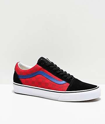 Vans Old Skool OTW Rally Red & Blue Checkerboard Skate Shoes