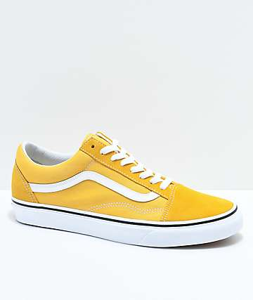 b85a31fec3a7 Vans Old Skool Ochre   White Skate Shoes