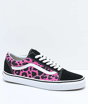Vans Old Skool Pink & Black Leopard Print Skate Shoes