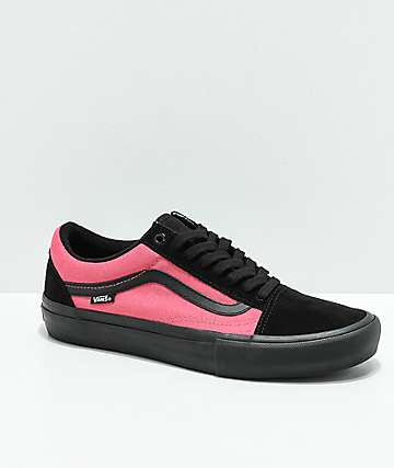 Vans Old Skool Pro Asymmetrical Black, Pink & Blue Skate Shoes