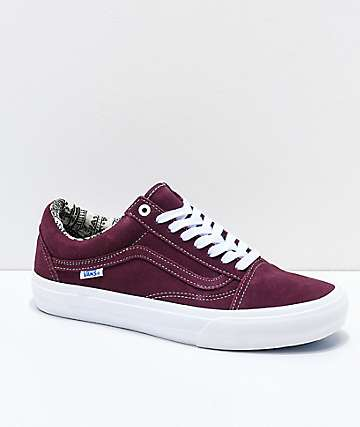 Vans Old Skool Pro Barbee Burgundy Skate Shoes 1da2cf7d2