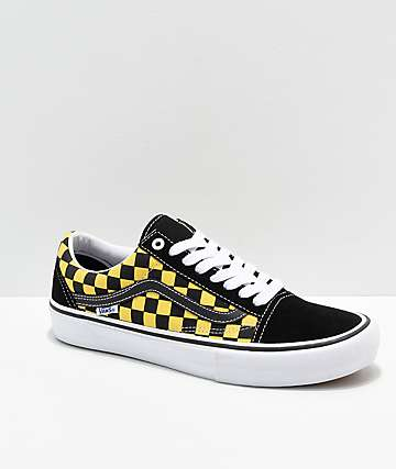b5065a7a35 Vans Old Skool Pro Checkerboard Black   Gold Skate Shoes