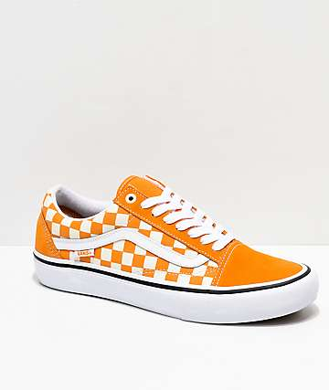72d10e66a7 Vans Old Skool Pro Cheddar   White Checkerboard Skate Shoes
