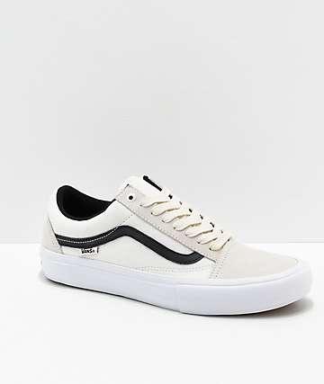 a61296674 Vans Old Skool Pro Marshmallow zapatos de skate blancos y negros