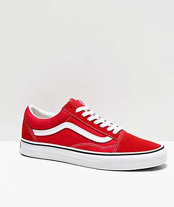 15519cffe6bec Vans Old Skool Racing Red & White Skate Shoes