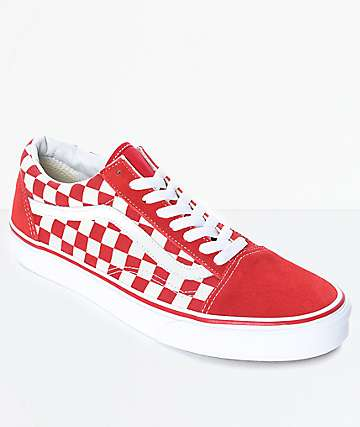 304ff7c0ccd965 Vans Old Skool Red   White Checkered Skate Shoes