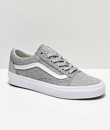 32466cf74b2985 Vans Old Skool Silver   White Glitter Skate Shoes