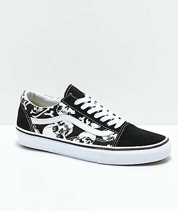 9678ef1973caa7 Vans Old Skool Skulls Black   White Skate Shoes