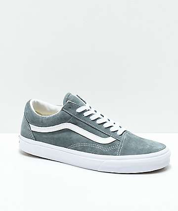 Vans Old Skool Stormy Grey & White Pig Suede Skate Shoes