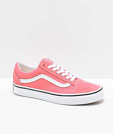 053157ad65 Vans Old Skool Strawberry Pink   White Skate Shoes