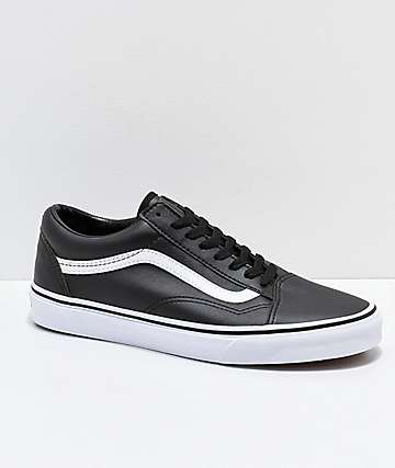 Vans Old Skool Tumble Black & White Leather Skate Shoes