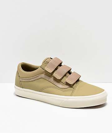 Vans Old Skool V Tan Leather Skate Shoes