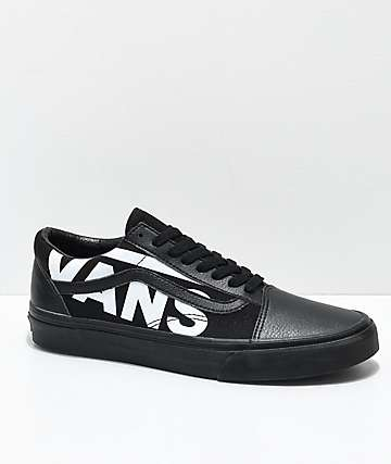 Vans Old Skool White Logo Black Skate Shoes