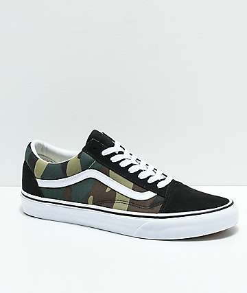 e52b86700 Vans Old Skool Woodland Camo & Black Skate Shoes