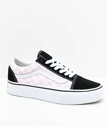 Vans Old Skool zapatos de skate con plataforma en rosa y negro a cuadros