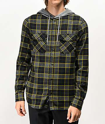 Vans Parkway Black, Grey & Yellow Hooded Flannel Shirt